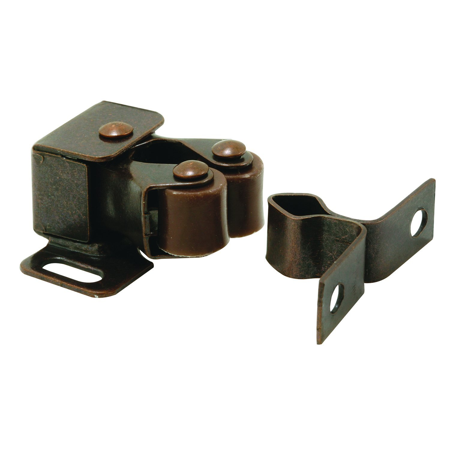 Prime-Line MP7174-100 Cabinet Door Catch, 1-1/4 in, Steel, Bronze, Spring-Loaded, Double Pole, Pack of 100, 100 Piece