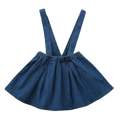 111035a899e Amazon.com  SSZZoo Toddler Baby Girls Kids Strap Denim Skirt Sleeveless  Solid Dresses Denim Overalls Dress Clothes  Clothing