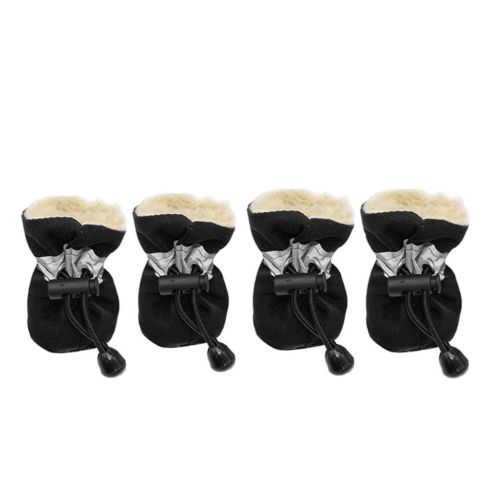 S, Red Winter Warm Dog Shoes Rubber Anti-Slip Pet Shoes for Cats Small Dogs Chihuahua Yorkie Puppy Thick Snow Dog Boots Socks 4pcs up to 11lbs