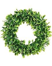 OVBBESS Konstgjorda gröna blad krans – 38 cm buxbom krans utomhus grön krans för ytterdörr vägg fönster festdekor
