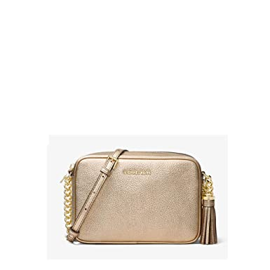5d47c5656e2c76 Image Unavailable. Image not available for. Color: Michael Kors Ginny  Metallic Leather Crossbody Gold