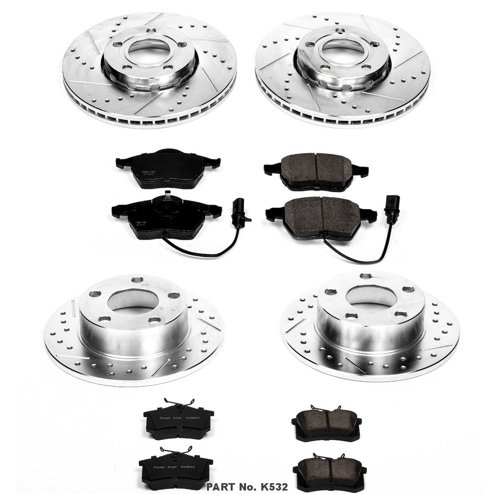 Power Stop K532 Front and Rear Z23 Evolution Brake Kit with Drilled//Slotted Rotors and Ceramic Brake Pads