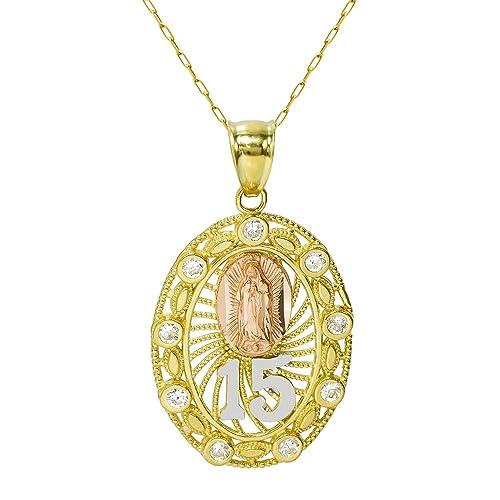 0f6a421b4702 Pyramid Jewelry Collar con Colgante de Oro de 14 K de Tres Colores ...