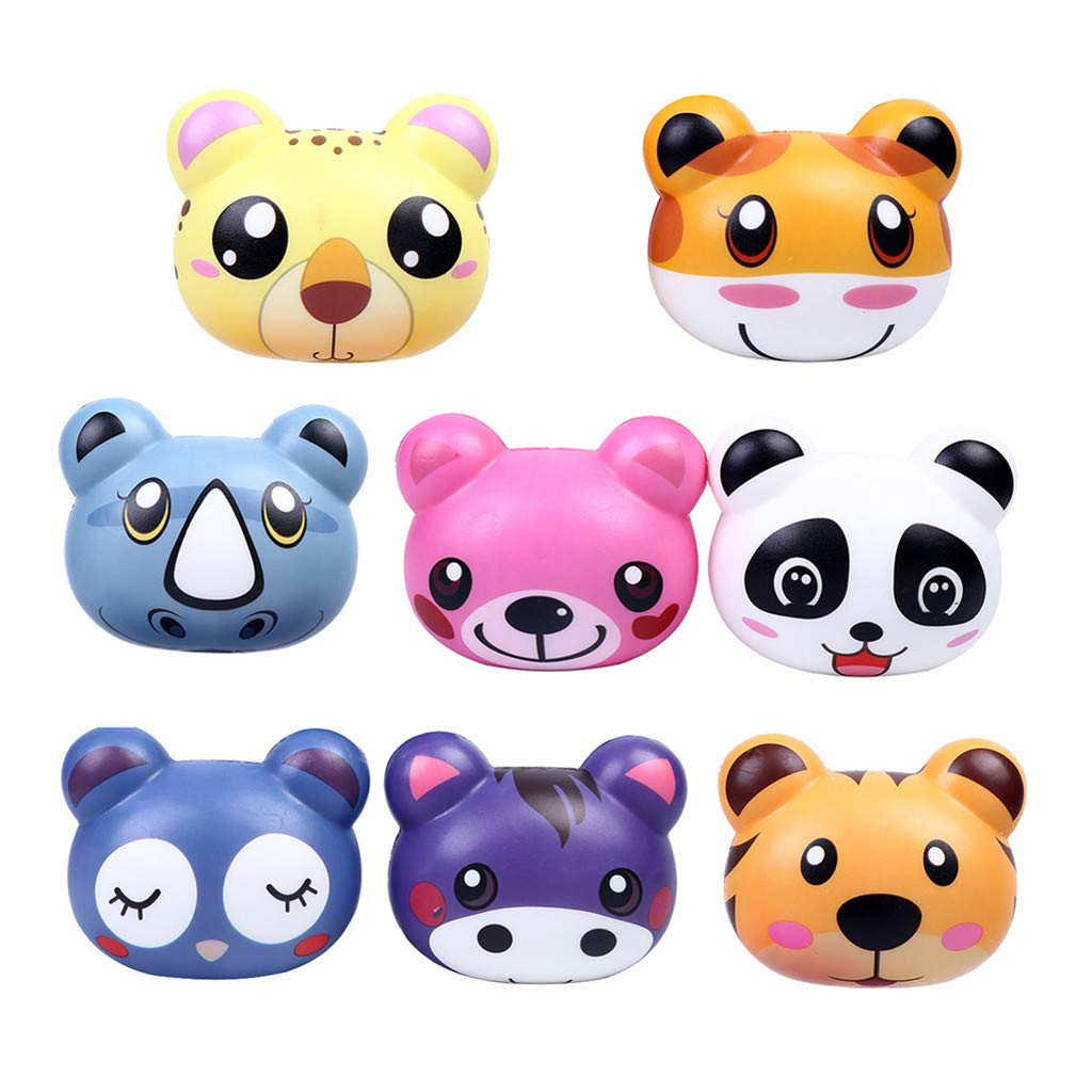Beautly 4/8 PCS Stress Relief Slow Cute Animal Shape Toy ,Decompression Toy for Adults and Kids,Kill time,Anti-Anxiety,Keep Focus,Relaxing,Soft Squeeze Toys for Friends,Boys and Girls (C, 8PCS) by Beautly