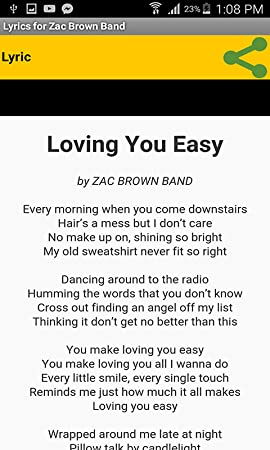 Amazon com: Lyrics for Zac Brown Band: Appstore for Android