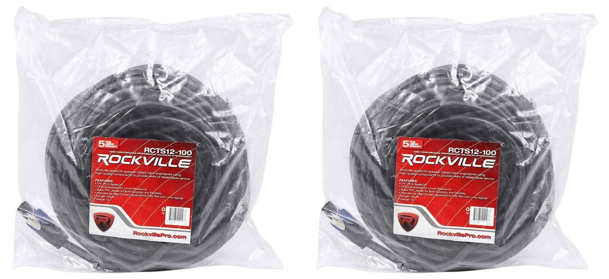 2 Rockville RCTS12100 100' 12 AWG 1/4'' TS to Speakon Speaker Cable 100% Copper