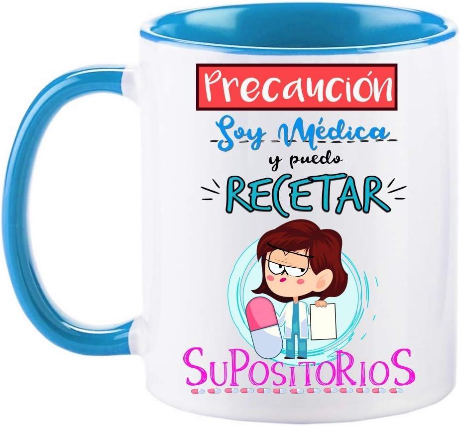 FUNNY CUP Taza Precaución Soy Médica y Puedo recetar supositorios. Taza Graciosa para medicas de Regalo (Azul)