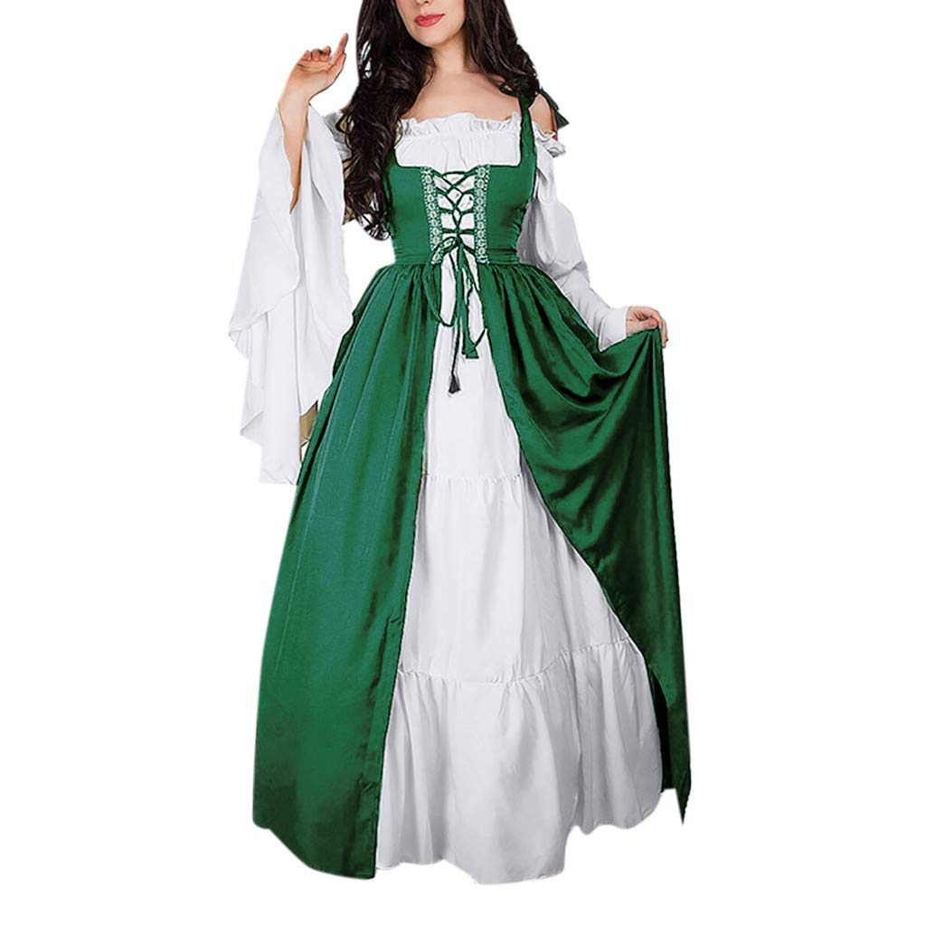 kanyankeji Renaissance Medieval Long Dress Elegant Victorian Gown Retro Costume Green