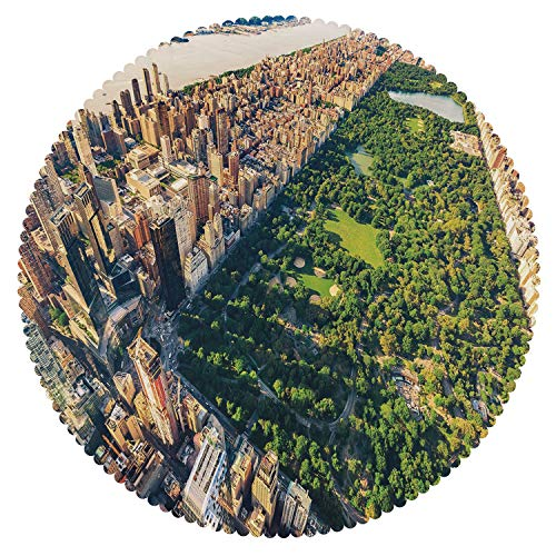 iPrint Cool Round Tablecloth [ United States,Central Park from The Air Surrounded by Buildings Downtown View Decorative,Fern Green Sand Brown ] Fabric Home Tablecloth Design