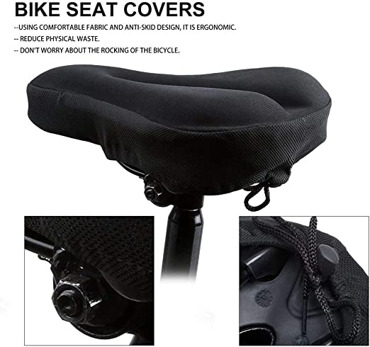 Bike Bicycle Silicone 3D Gel Saddle Seat Cover Comfort Pad Padded Soft B6K8