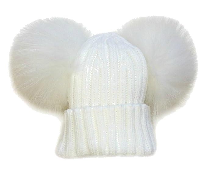 BrillaBenny Cappello Cuffia Doppio PON PON Pelliccia Bianco White 1-3 Anni  Cappellino Unisex Hat Fur Baby Kids Double Poms Luxury Wedding White   Amazon.it  ... d3f9ce10a1d3