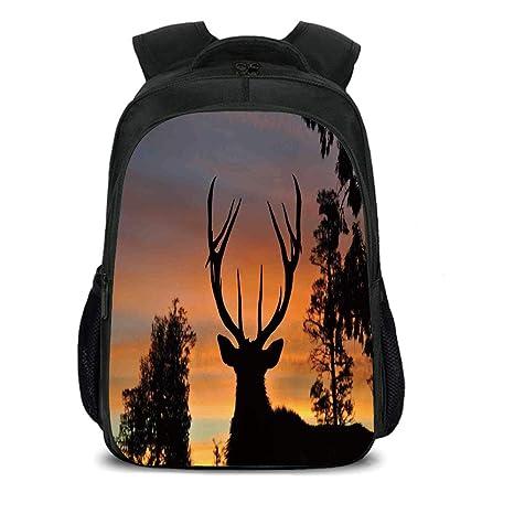Amazon Com Iprint 15 7 School Backpack Antlers Decor Black Deer