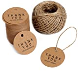 KINGLAKE 100PCS Kraft Paper Gift Tags Thank You Tags Round DIY Crafts Hang Tags with 100 Feet Jute Twine and Thank You For Your Kindness