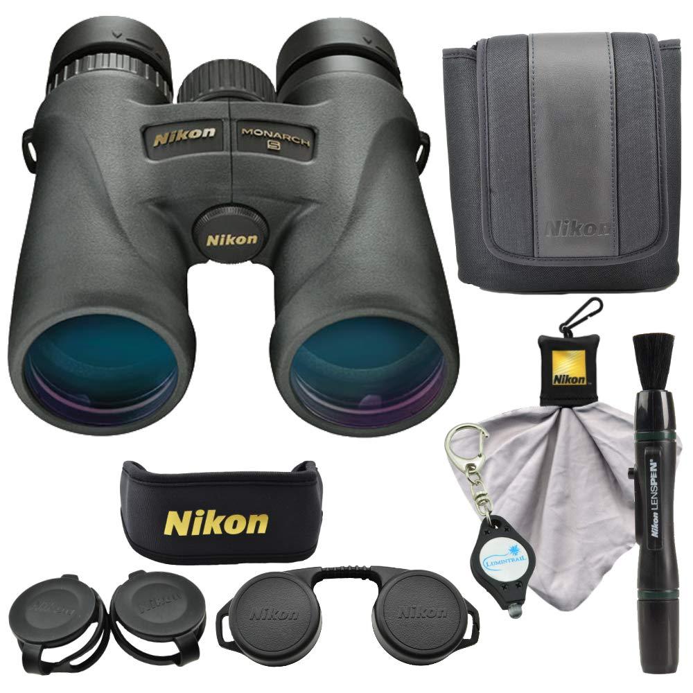 Nikon Monarch 5 8x42 Binoculars (7576), Black Bundle with a Nikon Cleaning Cloth, Lens Pen and a Lumintrail Keychain Light by Nikon