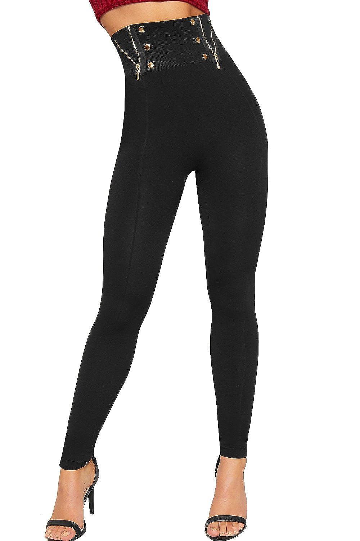 WearAll Damen Reißverschluss Akzent Hoch Taille Leggings