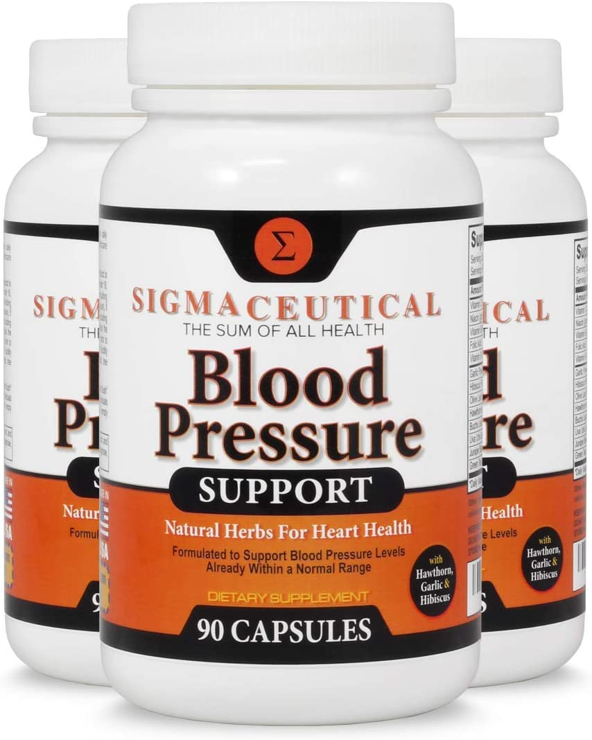 3 Pack of Blood Pressure Support Formula - High Blood Pressure Supplement with Hawthorn Extract, Hibiscus Supplement & Garlic Extract - Blood Pressure Medicine - 90 Capsules Each