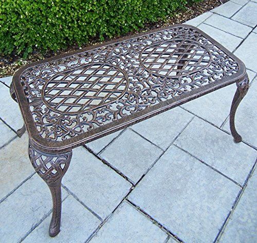 Oakland Living Mississippi Cast Aluminum Cocktail Table, 35-Inch by 18-Inch, Antique Bronze