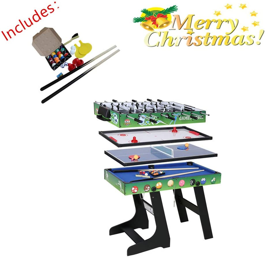 - 4 In 1 Folding Multi Sports Game Table Combo Table- Pool Table