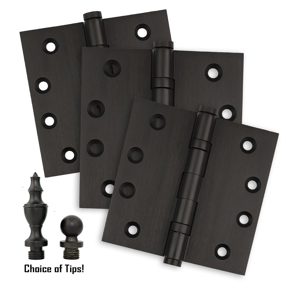 3 Oil Rubbed Bronze Door Hinges - 4'' x 4'' - Ball Bearing Extruded Solid Brass - Heavy Duty US10B Stainless Steel Removable Pin, Architectural Grade, Ball & Urn Tips Included by Homebuilders Hardware