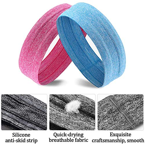 DOMEI 5Pcs Yoga Sweatbands for Women Head, Exercise Hair Bands for Working Out, Elastic Headbands Non Slip for Women