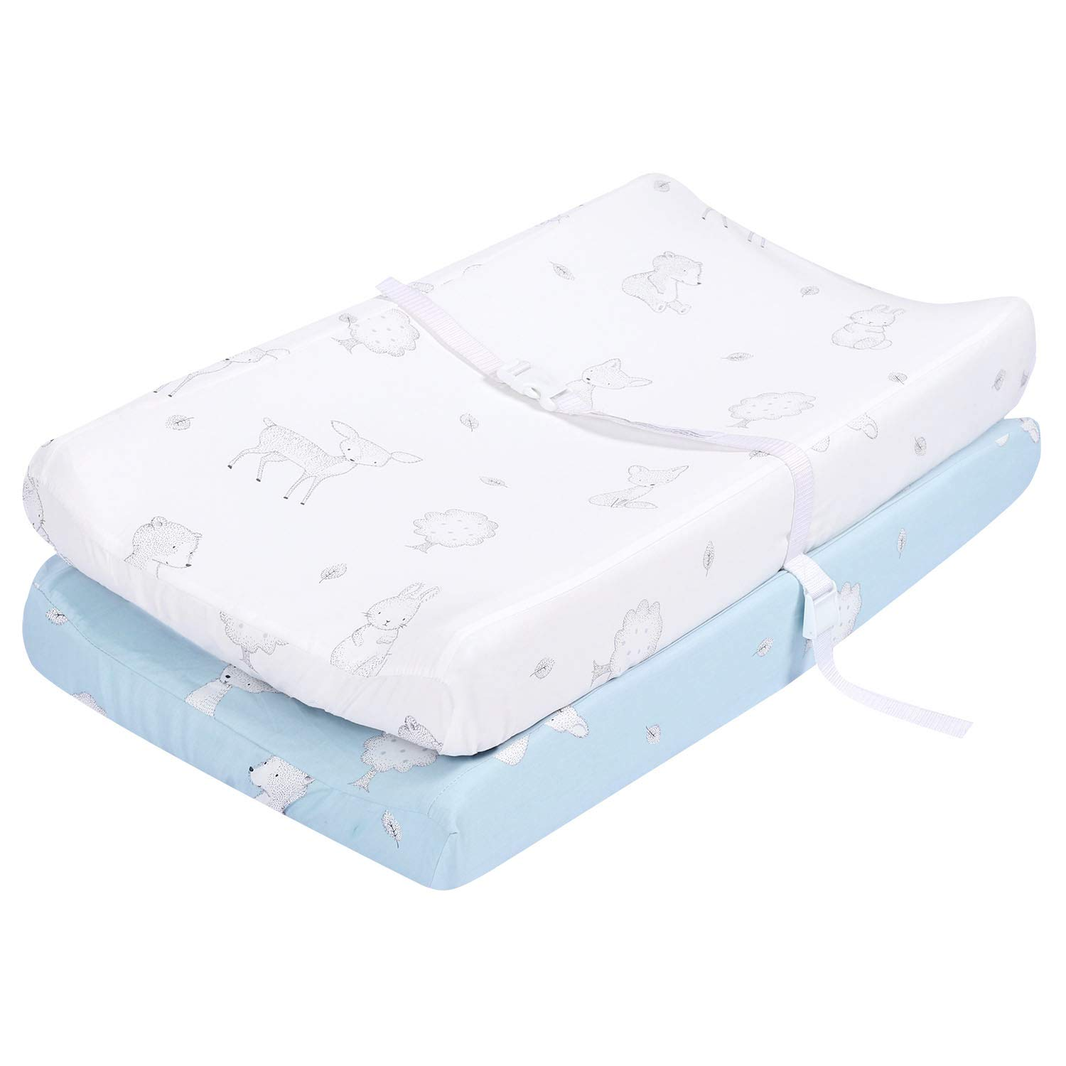 TILLYOU Bamboo Changing Pad Covers Woodland-Luxury Cradle Sheet Unisex Baby Changing Table Sheets-32''x16''-Ultra Soft Cozy Hypoallergenic, 2 Pack Fairy Messenger (Blue & White) by TILLYOU
