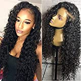 Jolitime Hair Loose Curly Lace Front Wigs Synthetic Black Color Water and Wet Synthetic Wigs For Fashion Women