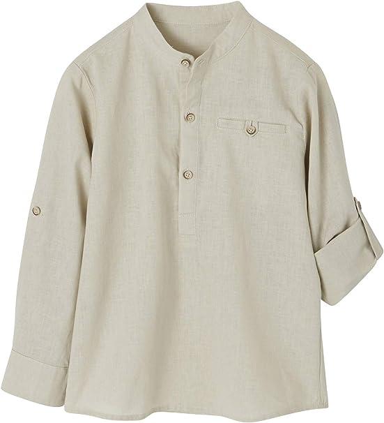 VERTBAUDET Camisa de Lino/algodón para niño con Cuello Mao, de Manga Larga Beige Medio Liso 6A: Amazon.es: Ropa y accesorios