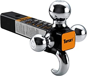 TOPSKY TS2011 Trailer Hitch Tri Ball Mount with Hook, 2 Inch Receiver, Hollow Shank Tow Hitch, Black & Chrome