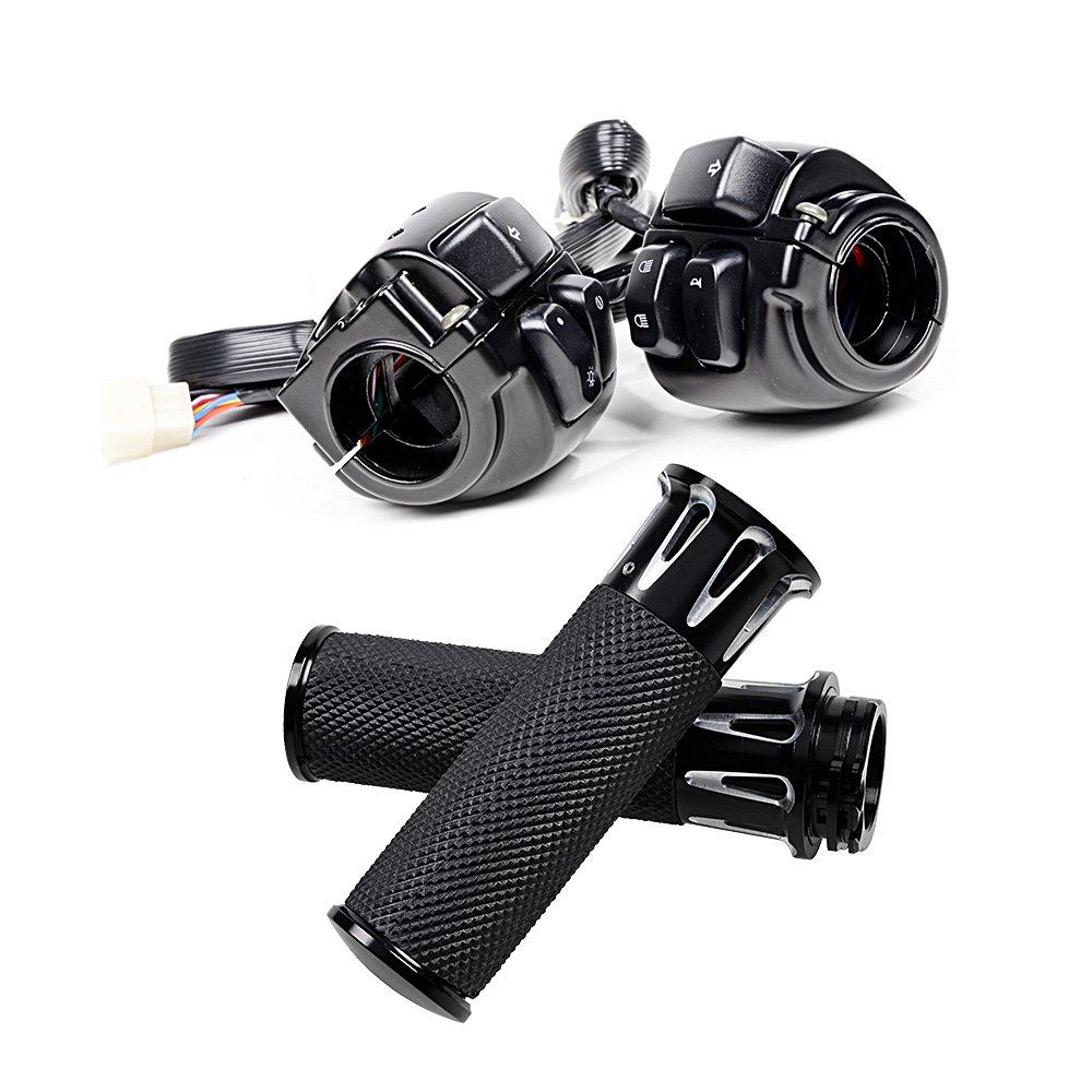 Left Right CNC 1'' Handlebar Hand Grips + Switch Control For 1996-2012 Harley Davidson (CNC Black)