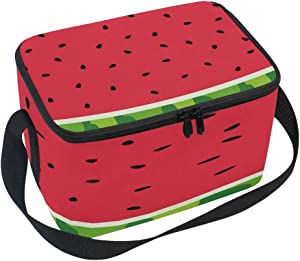 Use4 Red Watermelon Fruit Skin Insulated Lunch Bag Tote Bag Cooler Lunchbox