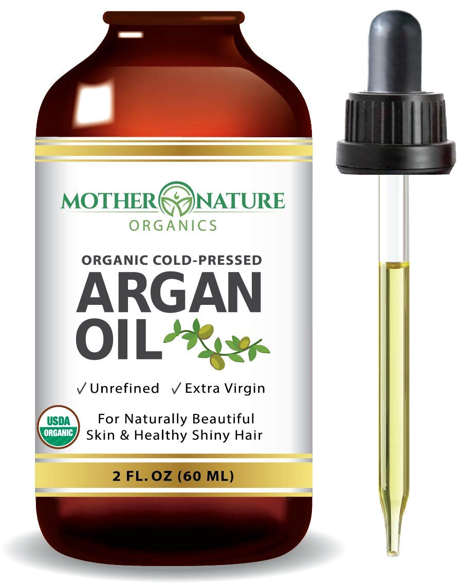 USDA Certified Organic Moroccan Argan Oil, Virgin, Unfiltered, 100% Pure, Cold Pressed. Natural Anti-Aging Moisturizer for Face, Hair, Skin & Nails (2oz)