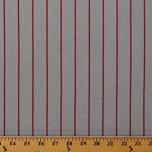Jersey Field Pinstripe - Pinstripe Gray and Red Grey Athletic Jersey Knit Fabric by The Yard (Pinstripe-grayred)