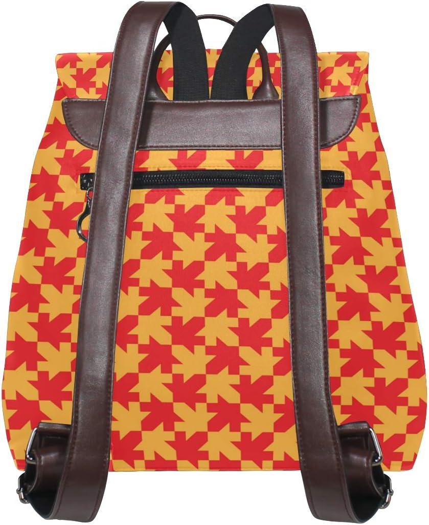 Fashion Shoulder Bag Rucksack PU Leather Women Girls Ladies Backpack Travel Bag Golden Maple Leaf Tie