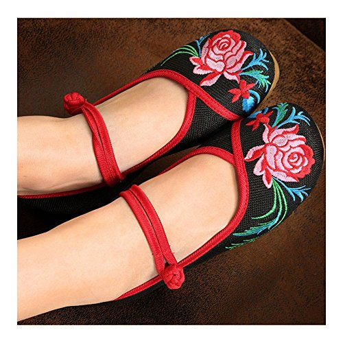 Slipsole 40 Embroidered black Cloth Beijing Shoes Old qgPpAR