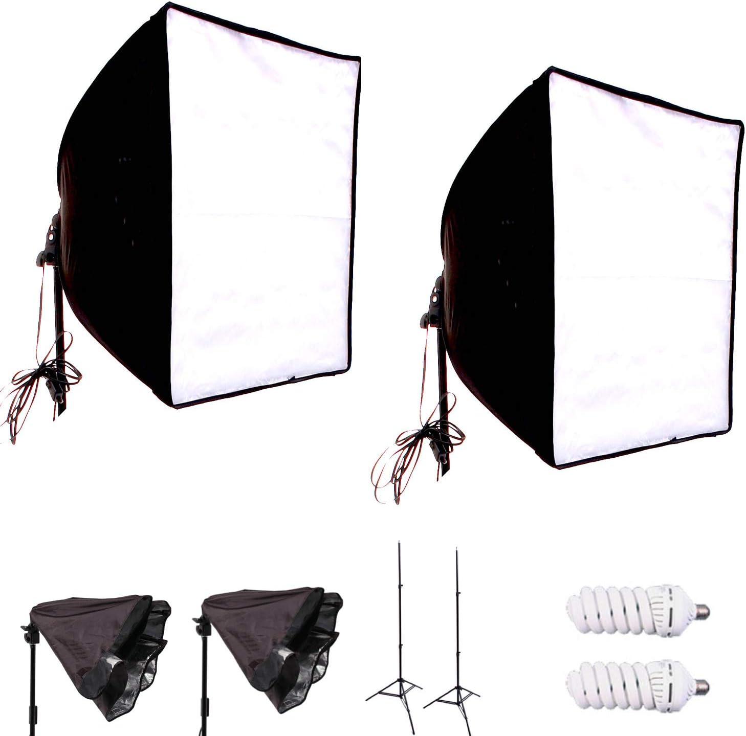 Sunset Foto 6PCS Photo Studio Softbox Light Kit Photography Video Soft Box w//LED//CFL Socket