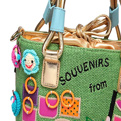 Small Casual Art Bucket Thai lona Canvas Women's Green Bag Diagonal 2018 Portable hlh Verde Original Bag gAwtPWqA0