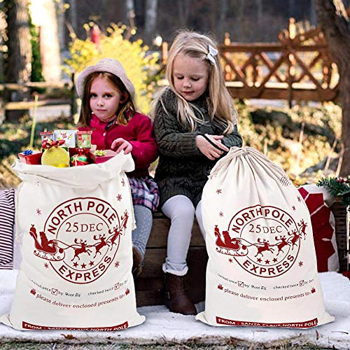 (Aytai 2pcs Large Santa Sacks with Drawstring Christmas Bag, Bags for Kids 27 x 19 Inch Canvas Xmas Presents Storage)