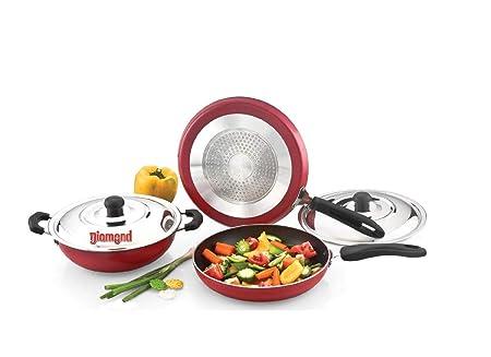 Diamond Mahavir 5pc Non Stick Induction Base cookware Set  Red