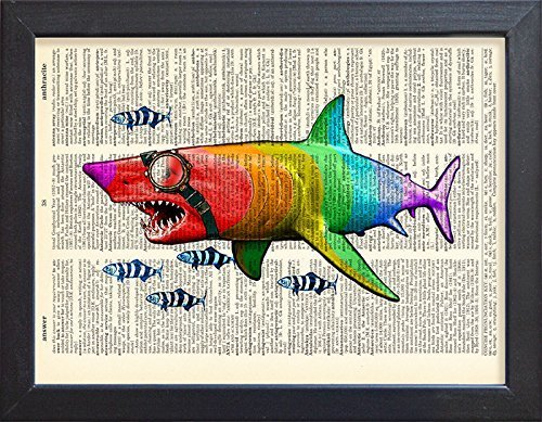(Shark poster, rainbow fish wearing glasses print, book page art decor.)