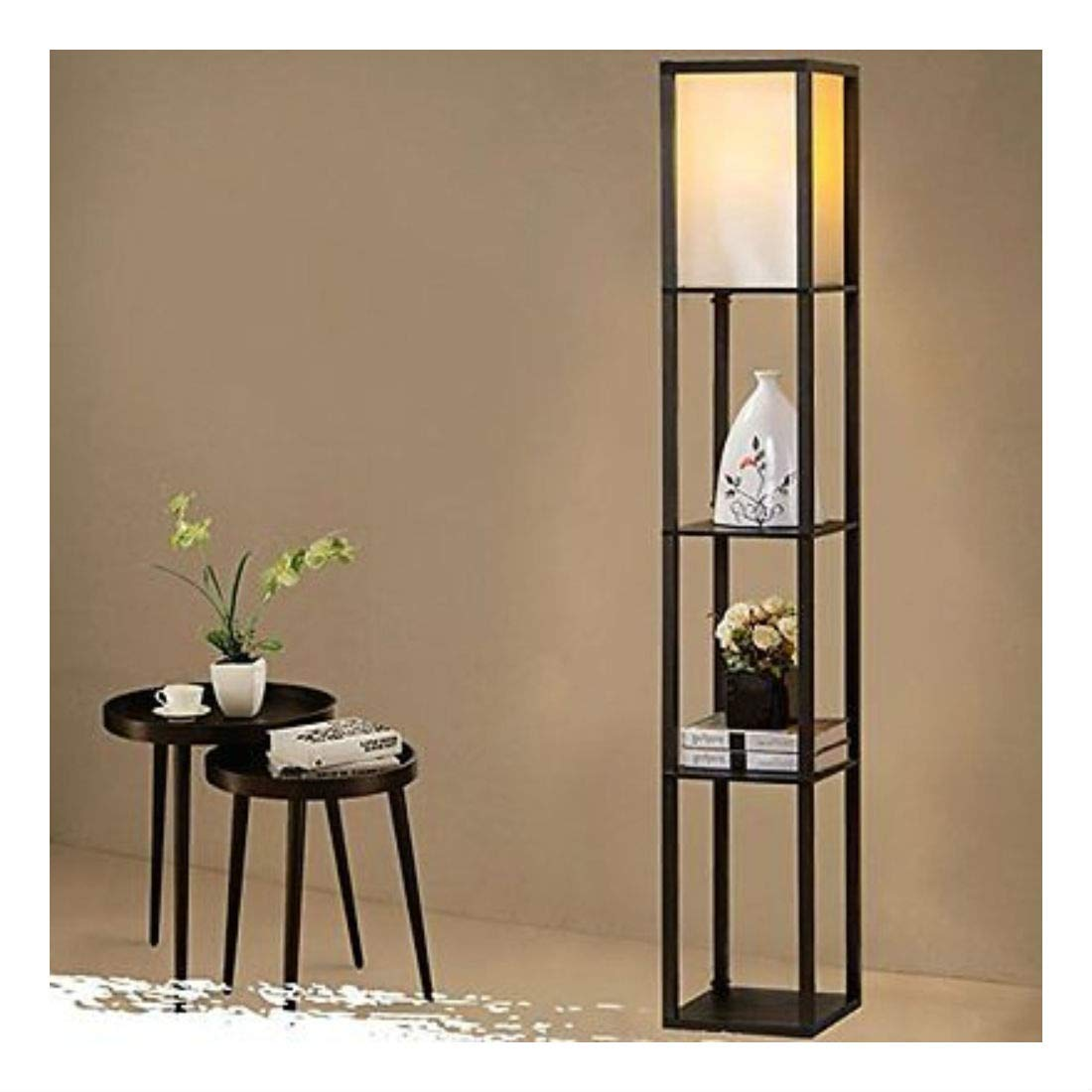Black modern wood shelf floor lamp off white shade storage living room bedroom home us amazon com