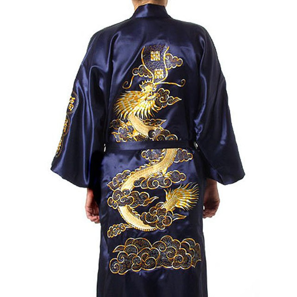 Chinese Men's Silk Satin Embroider Kimono Robe Gown Dragon (Navy Blue, XXXL)