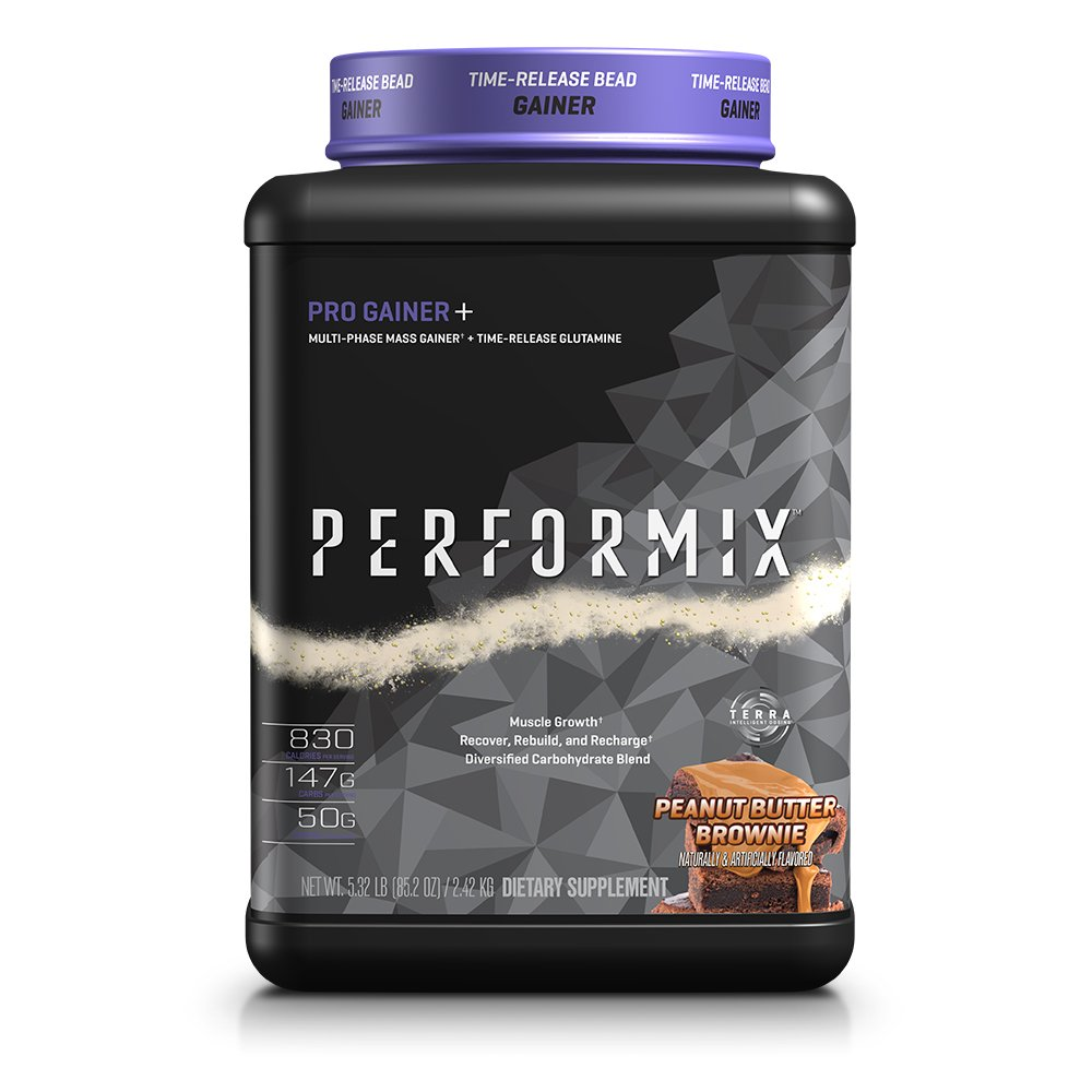 PERFORMIX Pro Gainer+ Multi-Phase Mass Gainer, Time-Release Glutamine, Muscle Growth, Recover, Rebuild, Recharge, (Peanut Butter Fudge, 5 lb)
