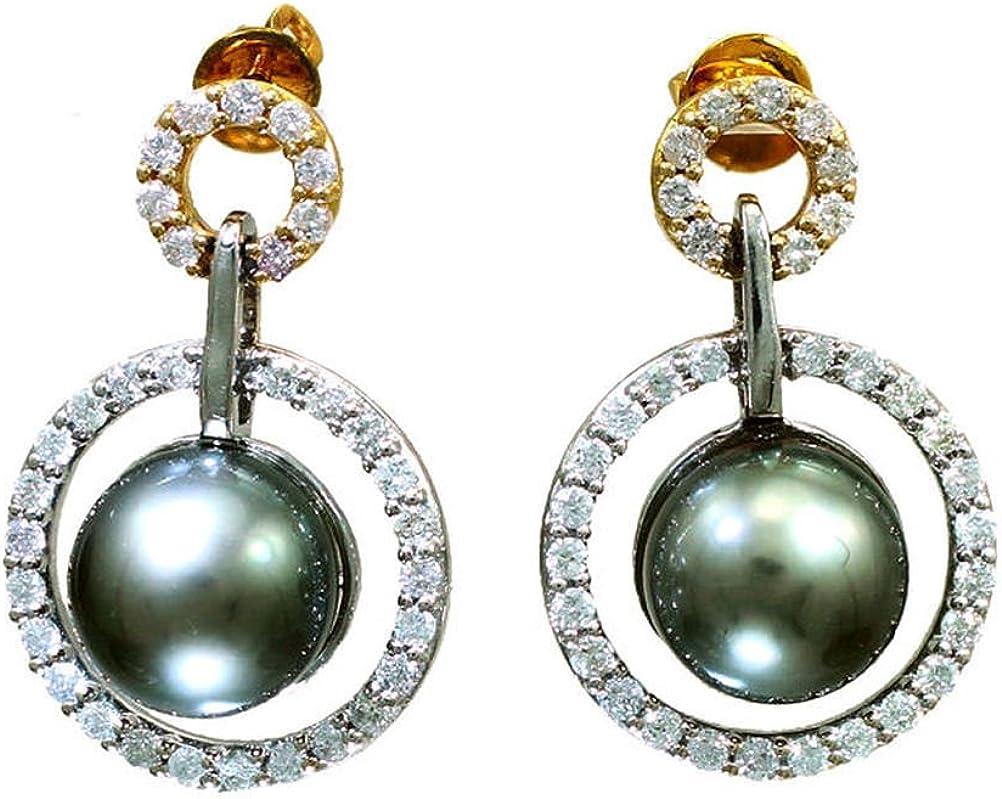 1.0ct perlas de Tahiti y del diamante pendientes de gota en 18 K oro blanco
