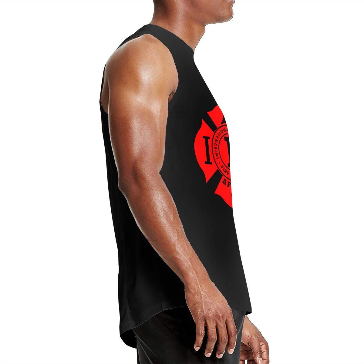ZETANKK IAFF AFL CIO Fire Firefighter Logo Mens Tank Tops Sleeveless T-Shirt Tee Gym Training Tee