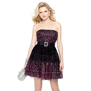 Alyce Paris Strapless Tulle Cocktail Dress Black/Pink - 4 at Amazon Womens Clothing store: