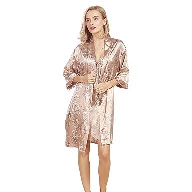 ac76934b94ae Daiwenwo Women Robe Gown Set Sleepwear Faux Silk Luxurious Ladies Summer  Bath Robe Nightdress 2 Pcs