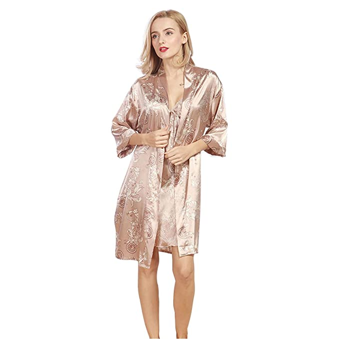 Daiwenwo Women Robe Gown Set Sleepwear Faux Silk Luxurious Ladies ...