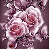 Cyhulu 5D DIY Diamond Embroidery Painting, Realistic Flower 5D Embroidery Paintings Rhinestone Pasted DIY Diamond Painting Cross Stitch Craft Home Office Decor Gift Art Wall Sticks (A, One size)