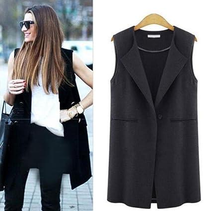 894cfa65dac WensLTD Women s Casual Sleeveless Open Front Cardigan Long Gilets Vest  Outwear (S