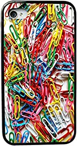 Rikki KnightTM Paper Clips Design Design iPhone 4 & 4s Case Cover (Black Rubber with bumper protection) for Apple iPhone 4 & 4s